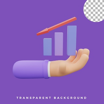 3d hand gebaar illustratie beneden grafiek grafiek pictogram geïsoleerde activa hoge kwaliteit