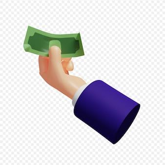 3d-hand met bankbiljet geïsoleerde 3d illustratie