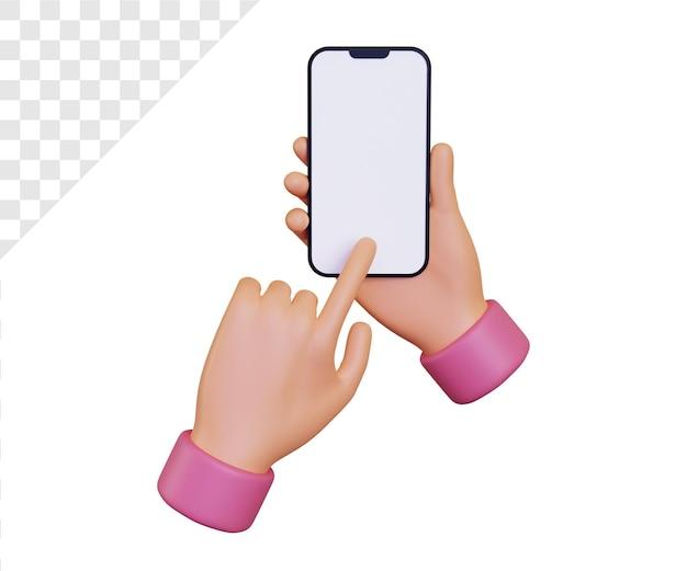 3d-hand met smartphone met vinger die het scherm aanraakt
