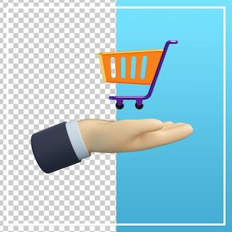 3d-hand met winkelwagen pictogram