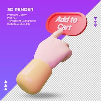 3d hand toevoegen aan winkelwagen rendering juiste weergave