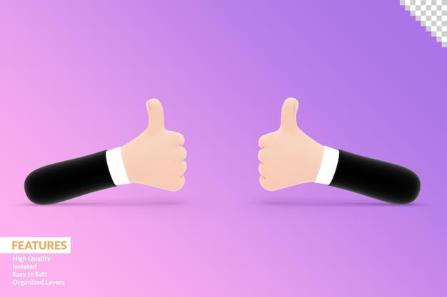 3d-handen die duimen opdagen