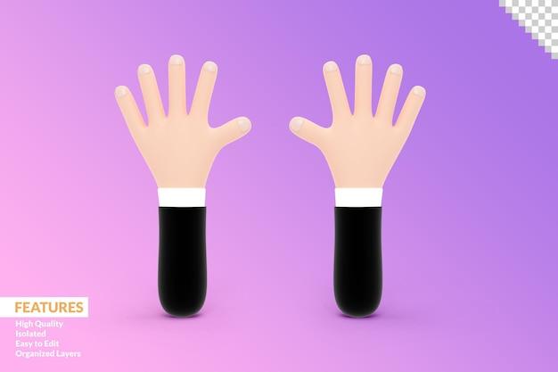3d-handen die handpalmen tonen