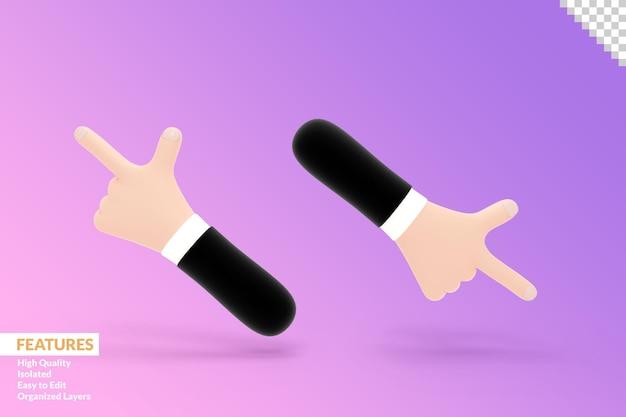 3d-handen die wijsvinger naar de zijkant wijzen