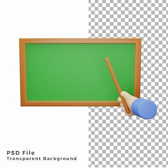 3d-handgebaar met schoolbordpictogramillustratie psd-bestanden van hoge kwaliteit