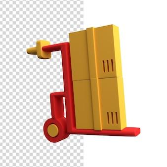3d-handkar pictogram. 3d handkar illustratie. 3d logistiek pictogram.