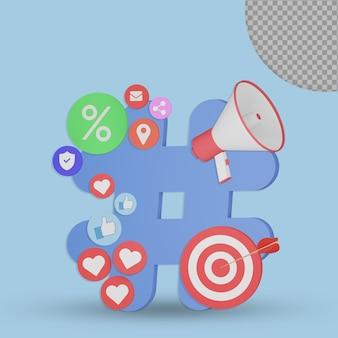 3d hashtag dengan konsep doel zakelijke rendering ontwerp geïsoleerd