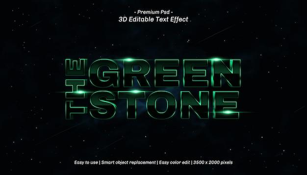 3d het groene steen bewerkbare teksteffect Premium Psd