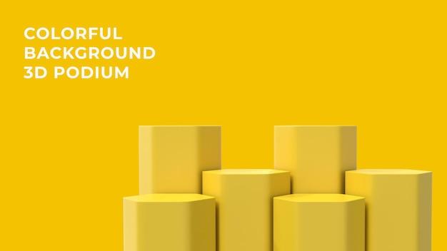 3d hex geel podium met kleurrijke achtergrond
