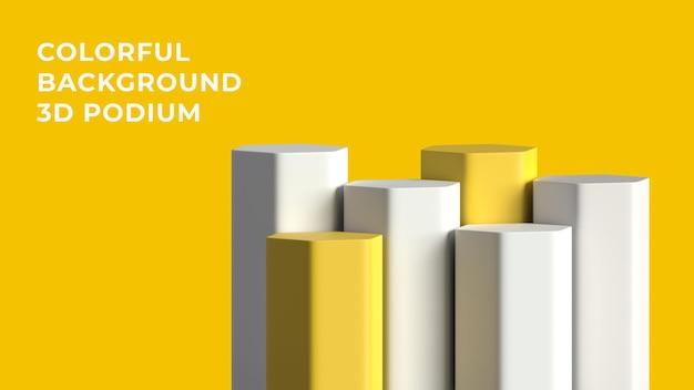 3d hex voor wit geel podium met kleurrijke achtergrond