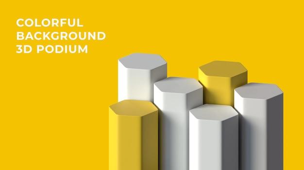 3d hex wit geel podium met kleurrijke achtergrond