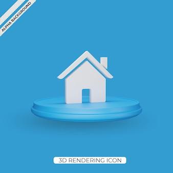 3d home render pictogram geïsoleerd