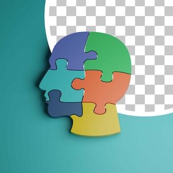 3d-hoofdpuzzel voor probleemoplossend concept