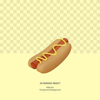 3d hotdog illustratin object gerenderd premium psd