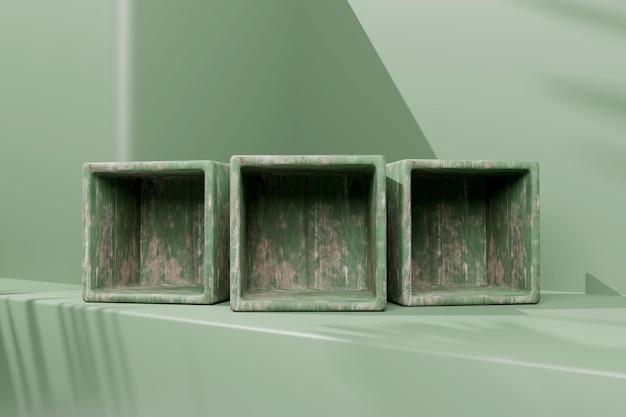 3d-hout rendering minimalistisch podium voor productplaatsing