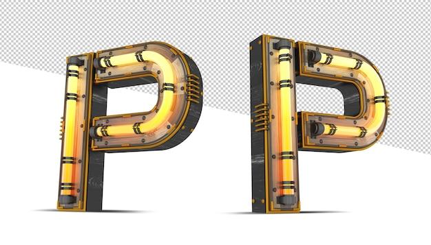 3d houten alfabet met neonlichteffect