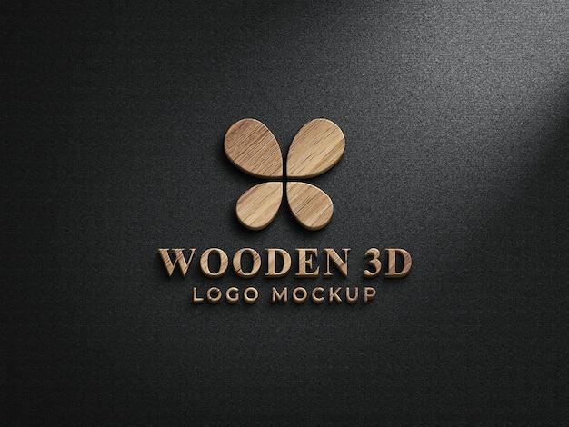 3d houten logo mockup-ontwerp