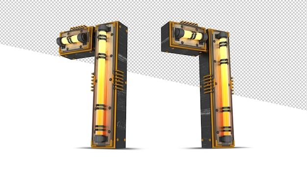 3d houten nummer met neonlichteffect