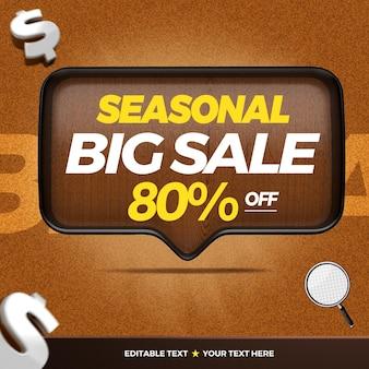 3d-houten tekstvak seizoensgebonden grote verkoop met maximaal 80 procent