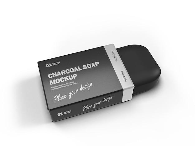 3d-houtskoolzeepstaaf met glanzend pakket Premium Psd