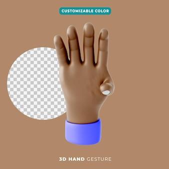 3d icono de gesto de cuatro dedos