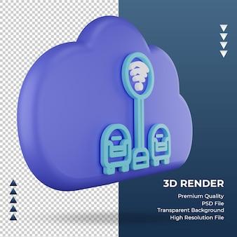 3d icono internet nube wifi área signo renderizado vista izquierda