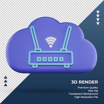 3d icono internet en la nube wifi router signo vista frontal de representación