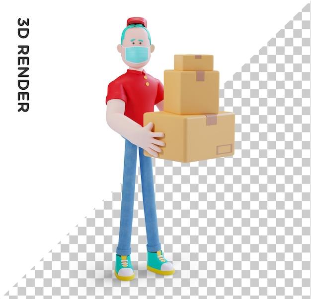 3d-illustraion karakter koerier levering concept