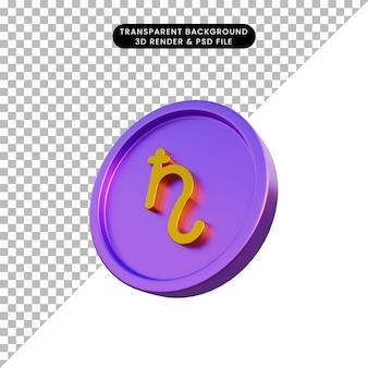 3d illustratie astrologische planeet teken saturnus op munt