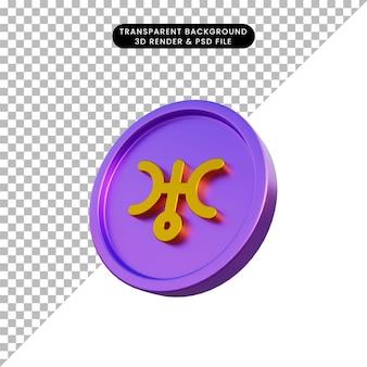 3d illustratie astrologische planeet teken uranus op munt