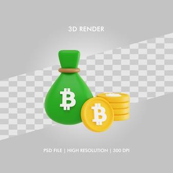 3d illustratie bitcoin financiën