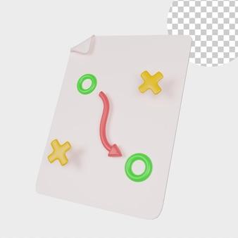 3d illustratie businessplan icoon met witte notitie