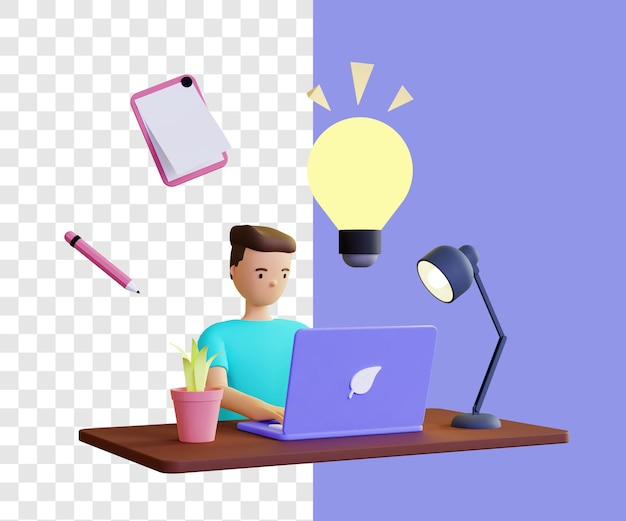 3d illustratie concept man op zoek naar ideeën