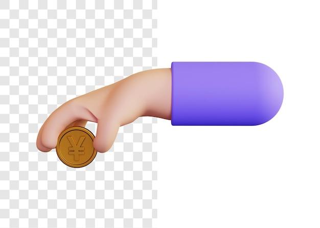 3d illustratie concept van het geven van yen munten