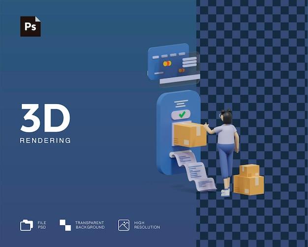 3d illustratie e-commerce winkelen