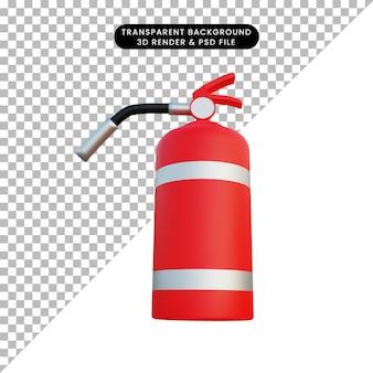 3d illustratie eenvoudig object brandblusser