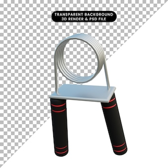 3d illustratie eenvoudig object handgreep fitness