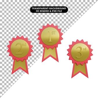 3d illustratie eenvoudig object medailles eer