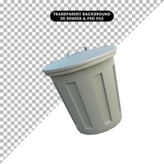 3d illustratie eenvoudig object prullenbak