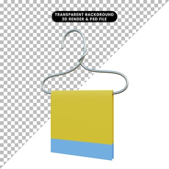 3d illustratie eenvoudig object waslijn