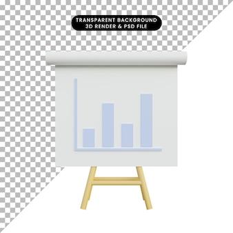 3d illustratie eenvoudig objectgegevensrapportbord