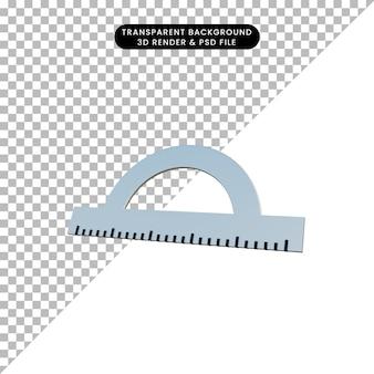 3d illustratie eenvoudige object constructie liniaal