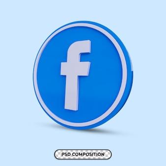 3d illustratie facebook logo geïsoleerd
