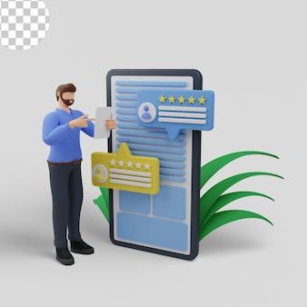 3d illustratie. feedback en beoordeling geven vanaf mobiele telefoon