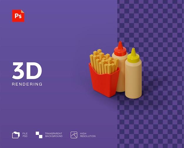 3d illustratie frietjes met saus