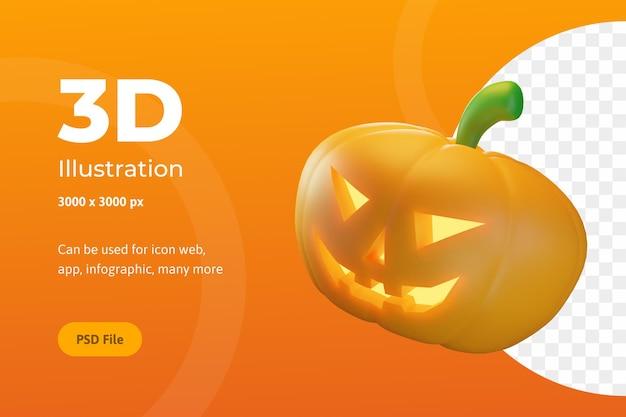 3d illustratie, halloween-pompoenen met oog en mond, voor web, app, feest, enz
