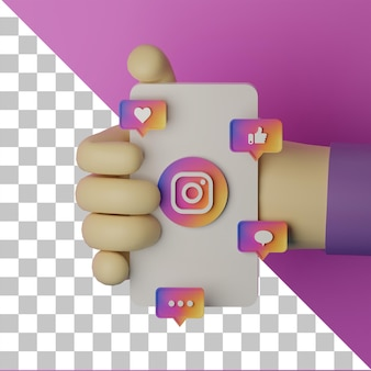 3d illustratie hand met mobiele telefoon met instag logo weergegeven achtergrond marketing concept