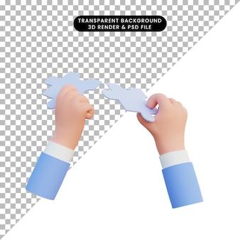 3d illustratie hand met puzzelstukjes