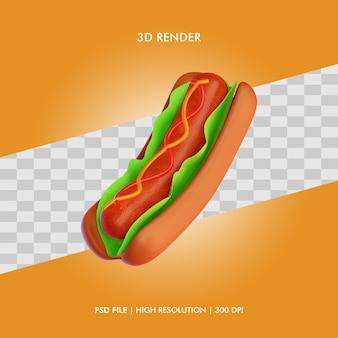3d illustratie hot dog eten