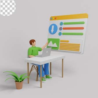 3d illustratie. kantoormedewerkers organiseren gegevensopslag en bestandsarchief op server of computer